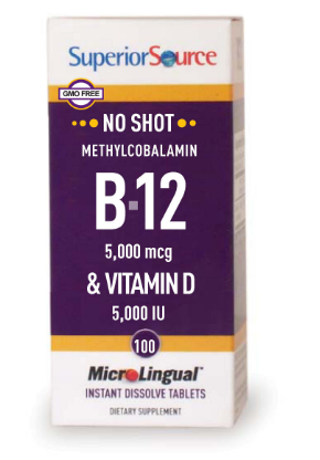 Superior Source B12 5000 mcg & Vitamin D 5000 IU 100 Count