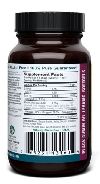Amazing Herbs Black Seed Oil 1250mg 60Cap
