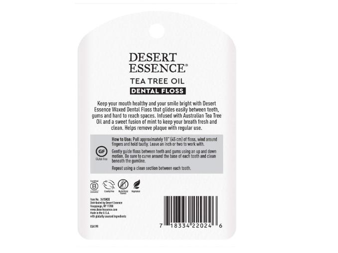 Dessert Essence Tea Tree Oil Dental Floss Waxed 50 Yards