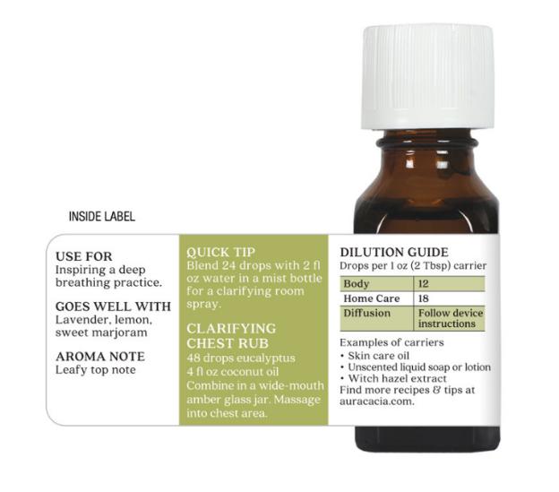 Aura Cacia Essential Oil, Eucalyptus 0.5oz