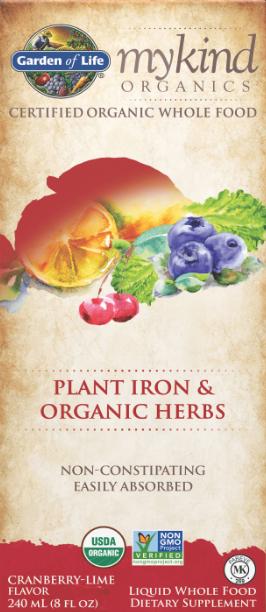 Garden of Life MyKind Plant Iron & Organic Herbs Liquid, Cranberry-Lime 8oz