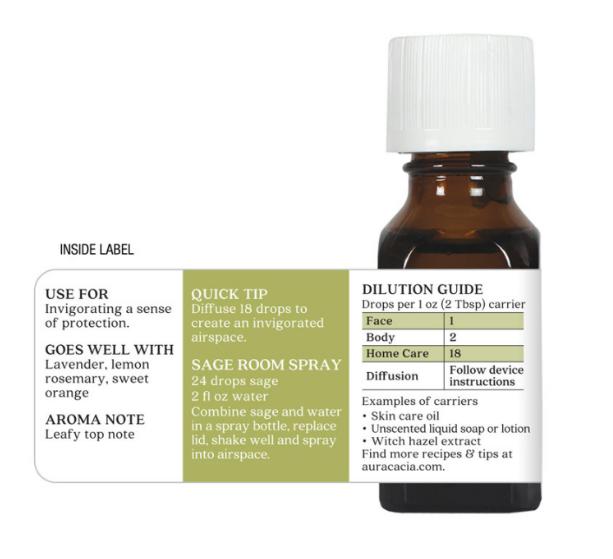 Aura Cacia Essential Oil, Sage 0.5oz