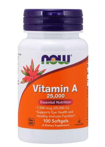 Now Vitamin A 25,000IU 100 Softgels